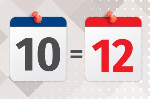 10 12 - 10 дорівнює 12